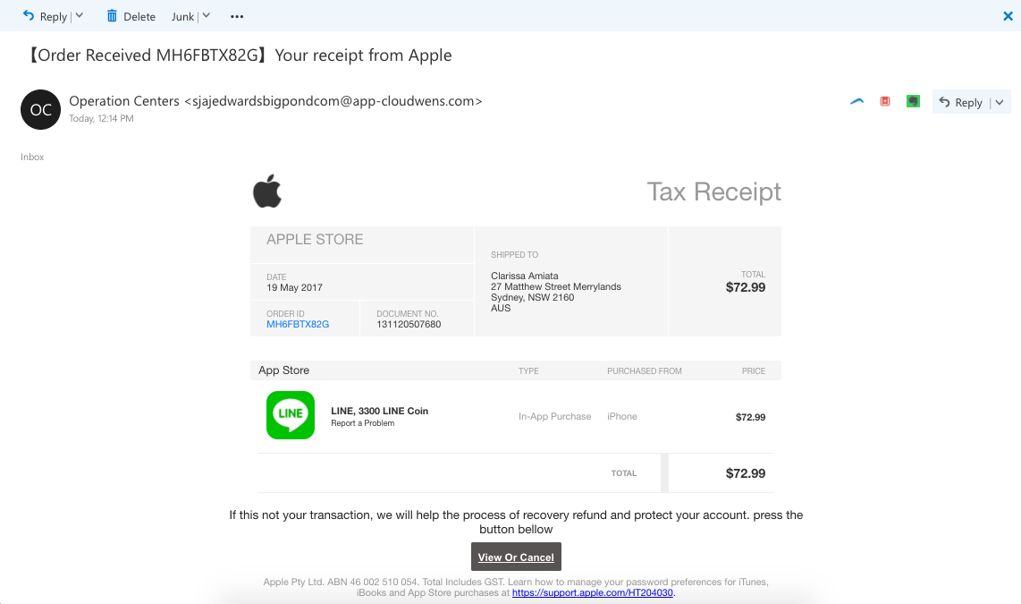 What To Put On An Invoice Pdf Your Receipt From Apple Scam  Scam Detector Create A Invoice Pdf with Check Asda Receipt Suggested Read Google Listing Calls  Business Listing On First Page Rental Receipts Templates