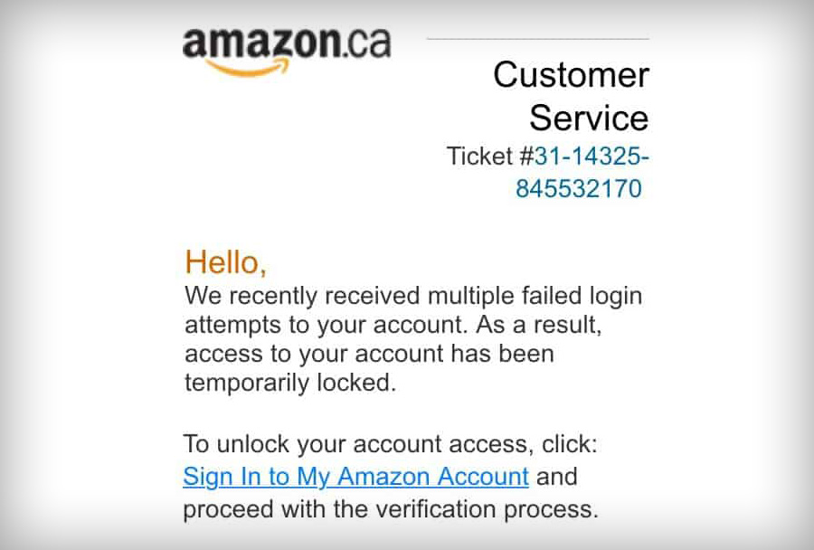amazon failed login attempt