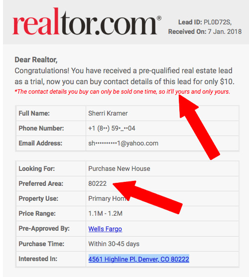 buying leads from realtor com