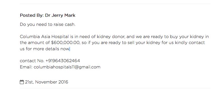 Kidney Donation For Money | Scam Detector