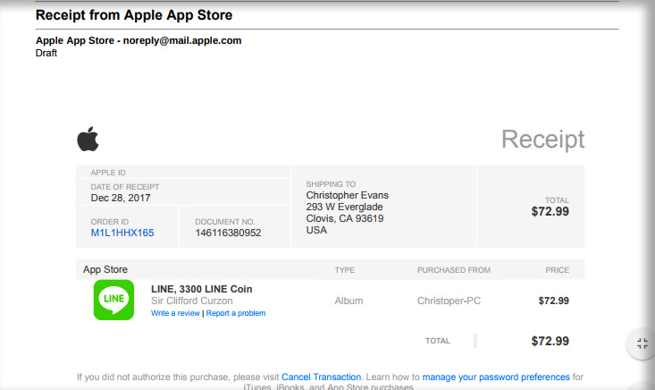 your receipt from apple scam scam detector