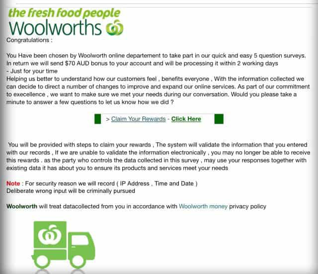 woolworths email survey