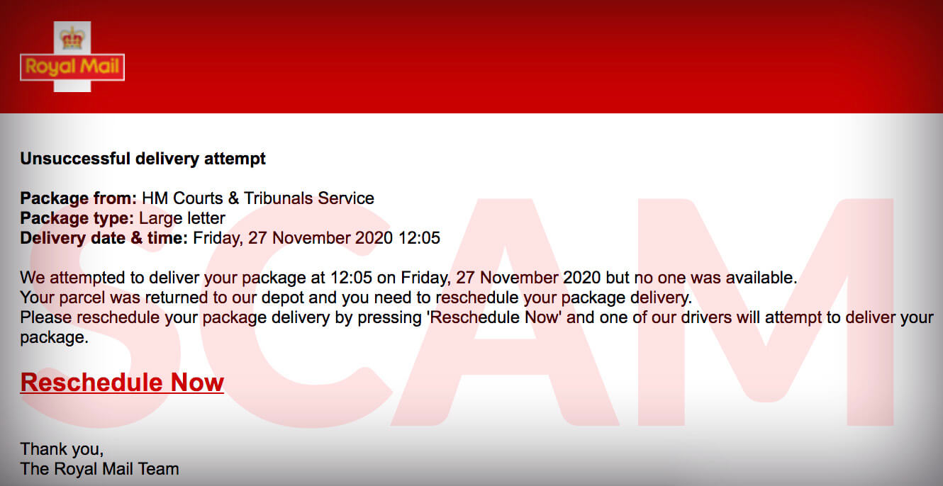 Royal mail scam email
