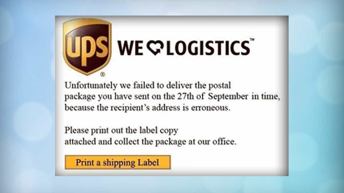 UPS Shipping Label Fake   Scam Detector