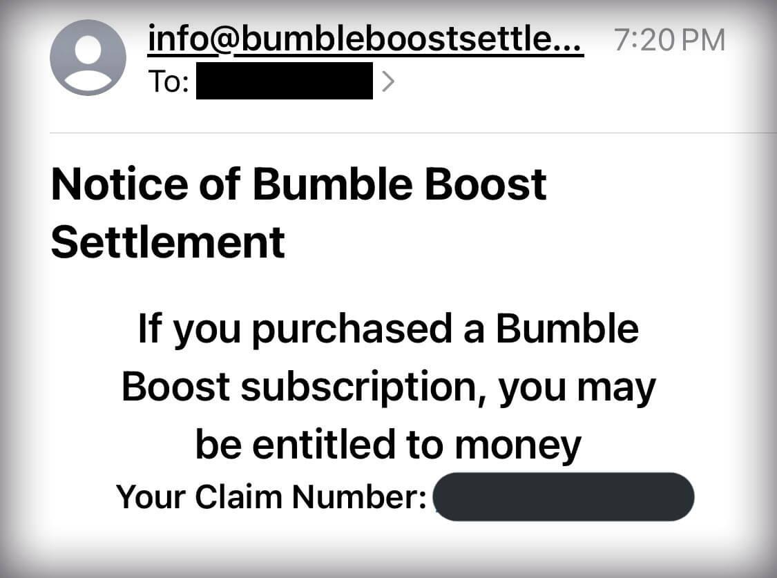 bumble boost settlement scam