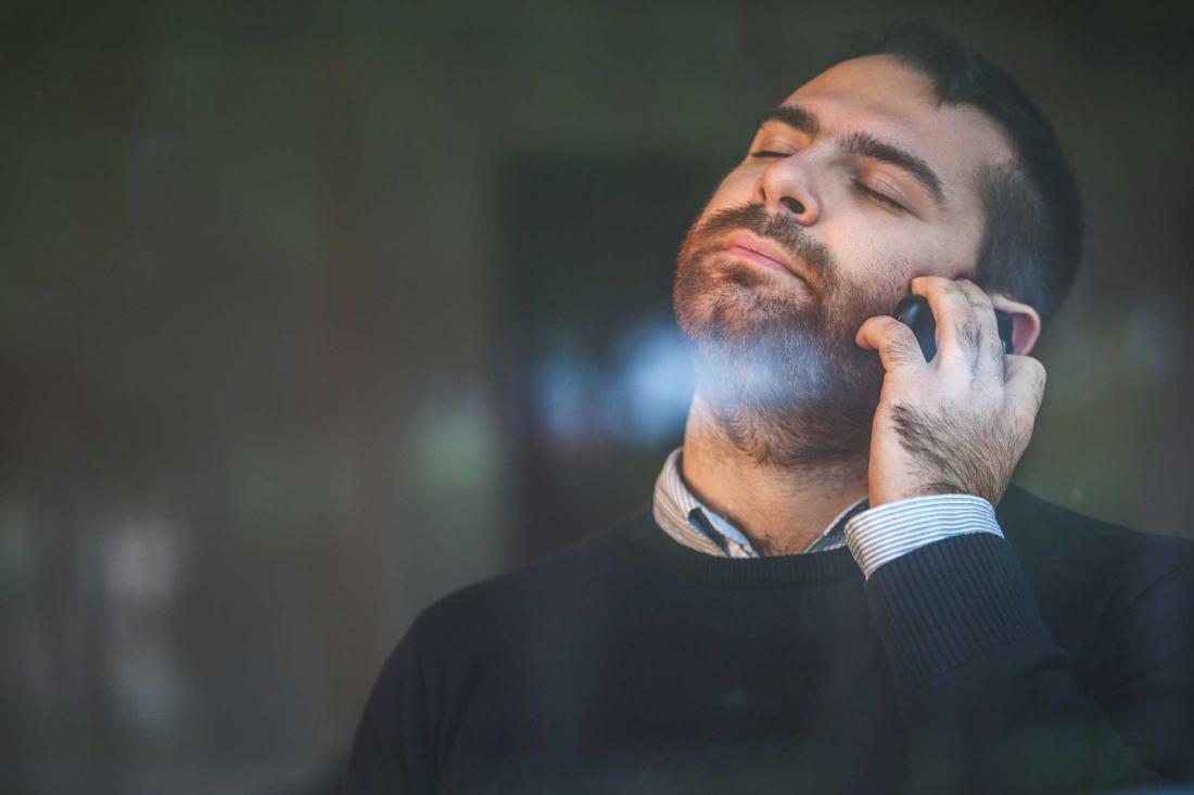 frustrated man on call